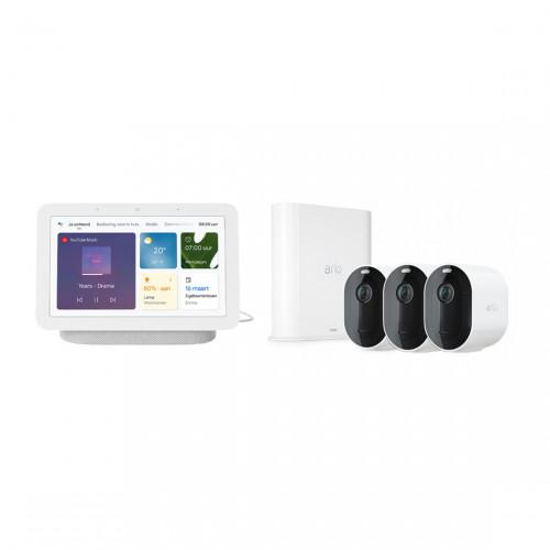Arlo Pro 3 VMS4340P Set met 3 Camera's + Google Nest Hub
