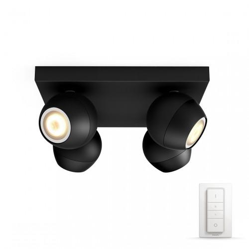 Philips Hue White Ambiance Buckram 4-lichts Spotbalk + Dimmer