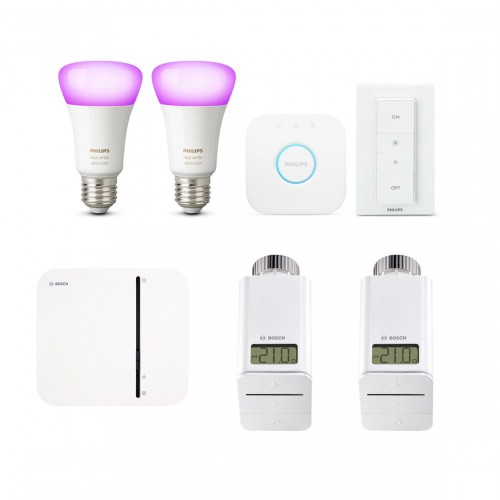Bosch Smart Home Controller + 2x Radiatoknop + Philips Hue White & Color Ambiance E27 Bluetooth Starter Kit