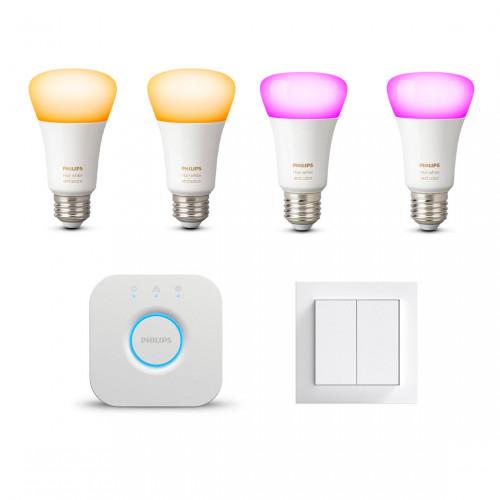 Philips Hue Bridge + White Ambiance E27 Bulbs 2-pack + White & Color Ambiance E27 Bulbs 2-pack + Senic Indoor Switch