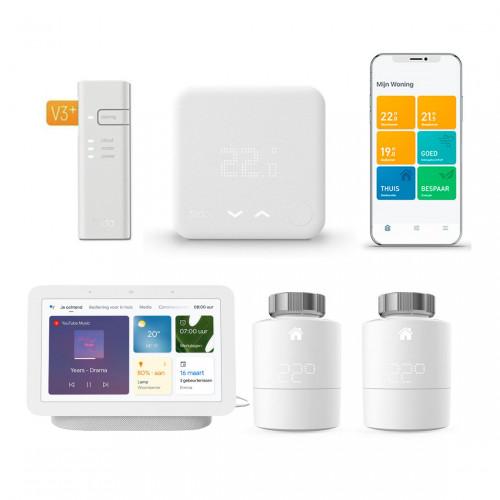 tado° Slimme Bedrade Thermostaat Starter Kit V3+ + 2x Radiatorknoppen + Google Nest Hub (Gen. 2)