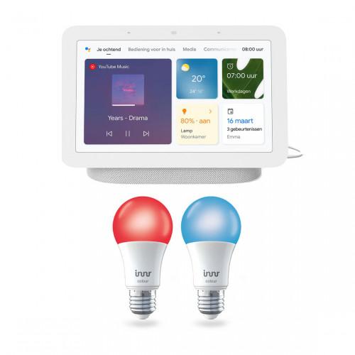 Google Nest Hub (Gen. 2) + Innr Bulb RB 285 C-2 E27 Color 2-pack