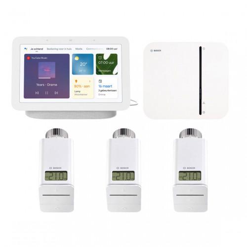 Bosch Smart Home Controller + 3x Radiatorknop + Google Nest Hub (Gen. 2)