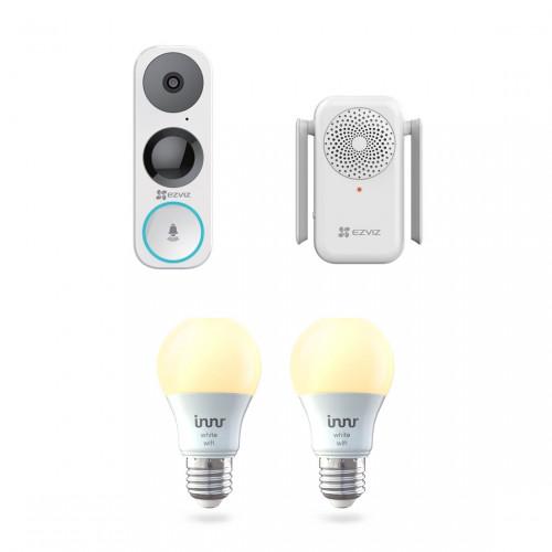EZVIZ DB1 Video Deurbel + Chime + Innr Wifi Bulb E27 White 2-pack