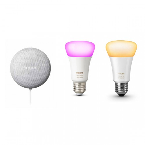 Google Nest Mini + Philips Hue White & Color Ambiance E27 Bluetooth + White Ambiance E27 Lamp