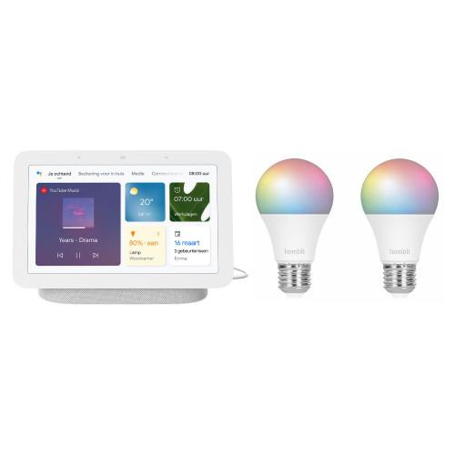 Google Nest Hub (Gen. 2) + Hombli Smart Bulb E27 Colour 2-pack