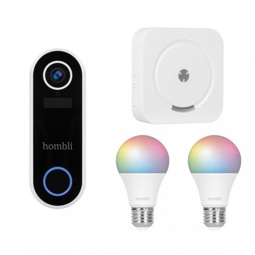 Hombli Smart Doorbell 2 + Smart Bulb E27 Color 2-pack + Chime Deurgong