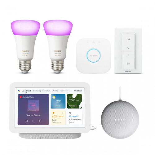 Philips Hue White & Color E27 Bluetooth Starter Kit + Google Nest Hub (Gen. 2) + Nest Mini