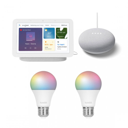 Google Nest Hub (Gen. 2) + Nest Mini + Hombli Smart Bulb E27 Colour 2-pack