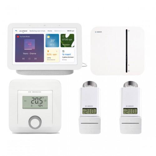 Bosch Smart Home Controller + 2x Radiatorknop + Kamerthermostaat + Google Nest Hub (Gen. 2)