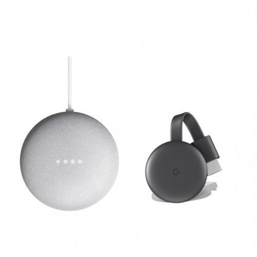 Google Nest Mini Sprachassistent und Google Chromecast