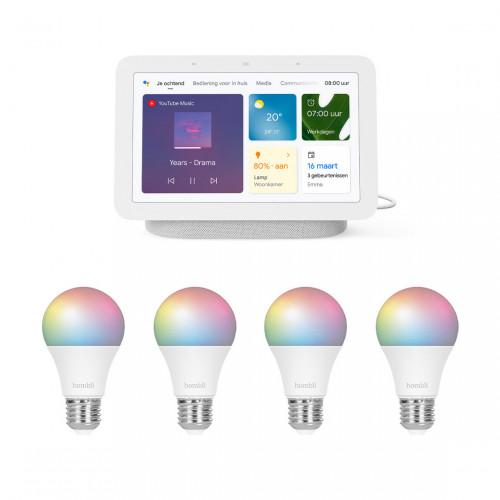 Google Nest Hub (Gen. 2) + Hombli Smart Bulb Color 4-pack