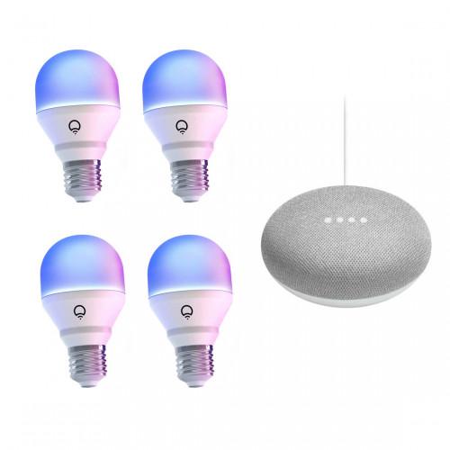 LIFX E27 Color Wifi Led Lamp 4-pack + Google Nest Mini