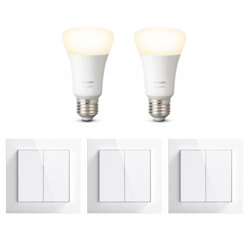 Senic Lichtschakelaar 3-pack + Philips Hue White E27 Bluetooth 2-pack