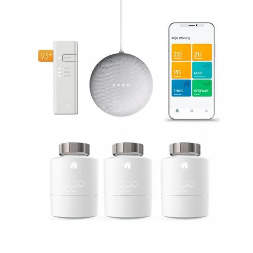 tado° Slimme Radiatorknop Starter Kit V3+ incl. Bridge + 2x Radiatorknoppen + Google Nest Mini