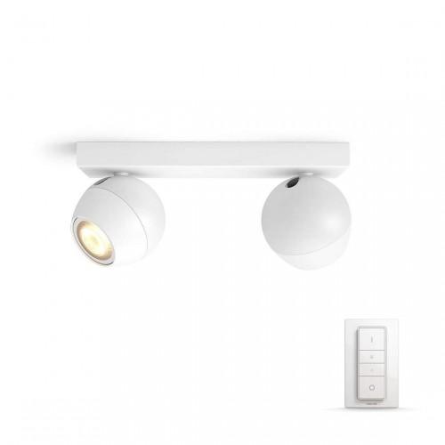 Philips Hue White Ambiance Buckram 2-lichts Bluetooth Spotbalk + Dimmer