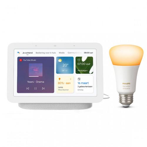 Google Nest Hub (Gen. 2) + Philips Hue White Ambiance E27 Bluetooth Ledlamp
