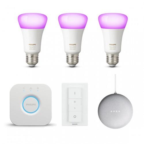 Philips Hue White & Color Ambiance Starter Kit + Extra Lamp + Google Nest Mini