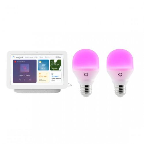 Google Nest Hub + LIFX Mini Colour E27 2-pack