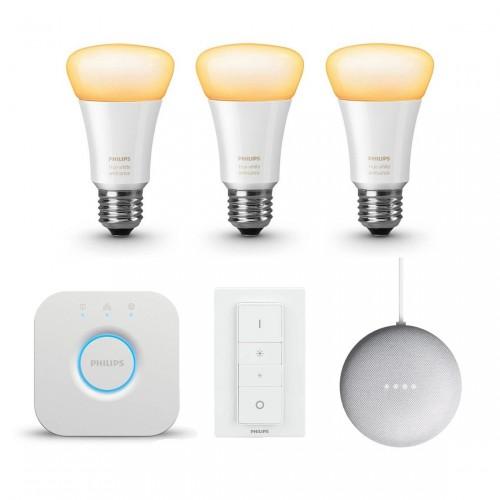 Philips Hue White Ambiance 3-pack Bluetooth Starter Kit + Google Nest Mini
