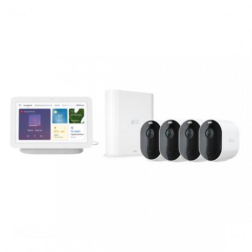 Arlo Pro 3 VMS4440P Set met 4 Camera's + Google Nest Hub