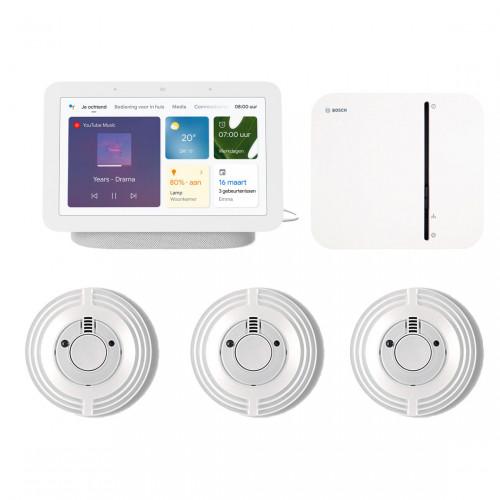 Bosch Smart Home Controller + 3x Rookmelder + Google Nest Hub (Gen. 2)