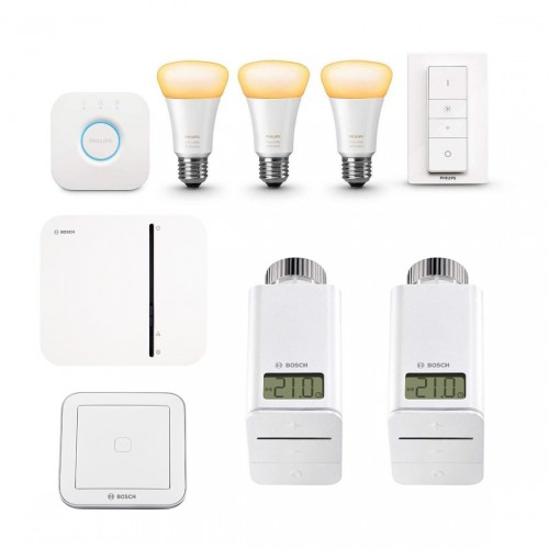 Bosch Smart Home Controller + 2x Radiatorknop + Philips Hue White Ambiance E27 Bluetooth Kit + Universal Switch Flex