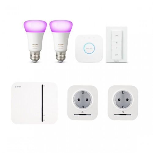 Bosch Smart Home Controller + 2x Stekker + Philips Hue White & Color E27 Bluetooth Kit