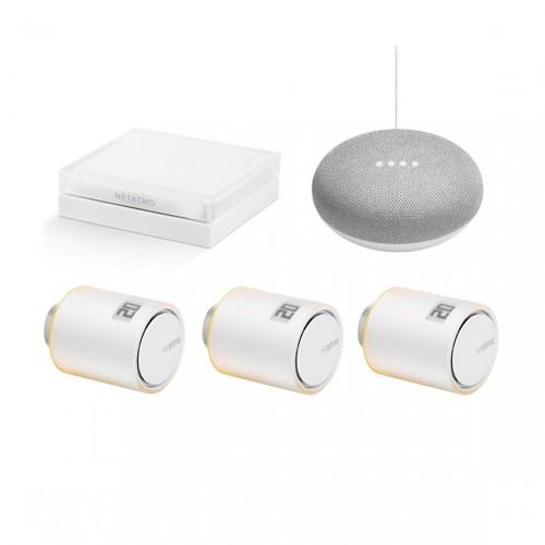Netatmo Radiatorthermostaat Starter Set met 3 Thermostaten + Google Nest Mini