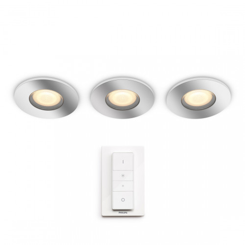 Philips Hue White Ambiance Adore Inbouwspots 350lm 3-pack + Dimmer