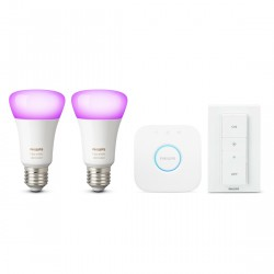 Philips Hue White & Color Ambiance E27 Bluetooth Starter Kit - 2 Lampen, Bridge, Dimmer