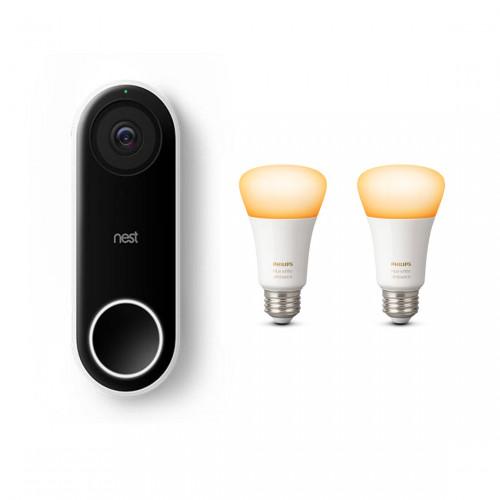 Google Nest Hello + Philips Hue White Ambiance E27 Bluetooth Lamp 2-pack