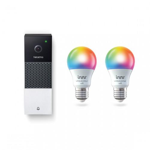Netatmo Video Deurbel + Innr Wifi Bulb E27 Colour 2-pack