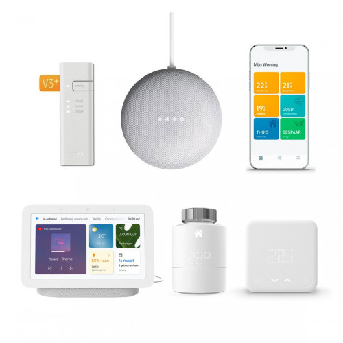 tado° Slimme Bedrade Thermostaat Starter Kit V3+ + Radiatorknop + Google Nest Hub (Gen. 2) + Nest Mini