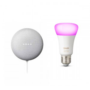 Google Nest Mini + Philips Hue White and Color Ambiance E27 Bluetooth