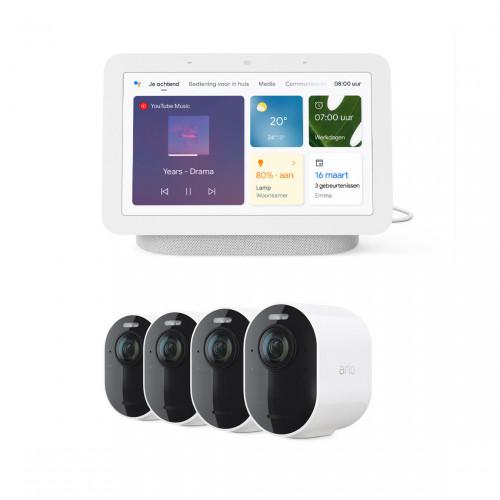 Arlo Ultra 2 Wire-Free Camera Systeem - 4 Camera's + Google Nest Hub (Gen. 2)