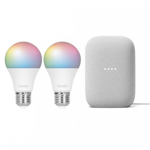 Google Nest Audio + Hombli Smart Bulb E27 Colour 2-pack
