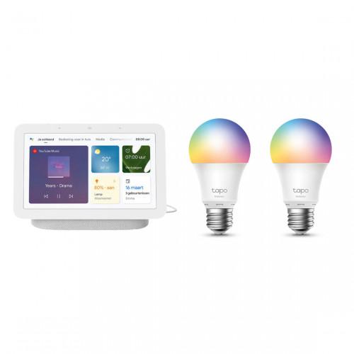 Google Nest Hub (Gen. 2) + TP-Link Tapo L530E Slimme Wifi Colour Lamp 2-Pack