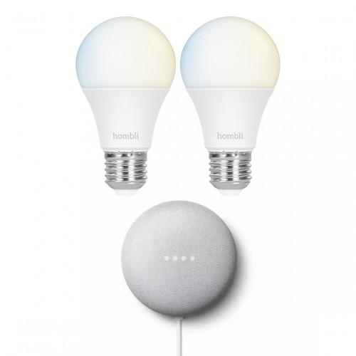 Google Nest Mini + Hombli Smart Bulb E27 White 2-pack