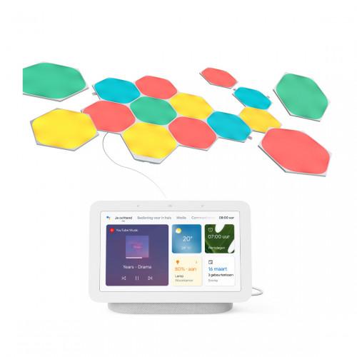 Nanoleaf Shapes Hexagons Starter Kit 15-pack + Google Nest Hub (Gen. 2)