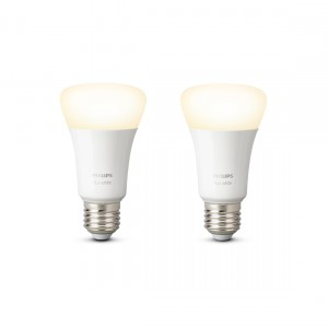 Philips Hue White E27 Bluetooth 2er-Set Licht an frontale Ansicht