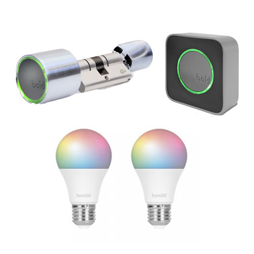 Bold Smart Lock + Bold Connect Bridge + Hombli Smart Bulb E27 Colour 2-Pack