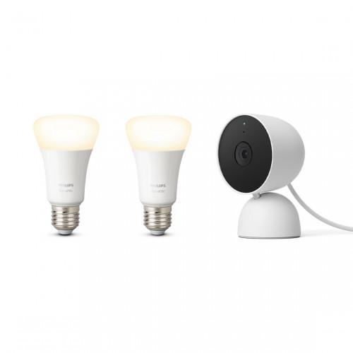 Google Nest Cam Indoor + Philips Hue White E27 Bluetooth Lamp 2-pack