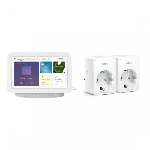 Google Nest Hub (Gen. 2) + TP-Link Tapo P100 Slimme Wifi Stekker 2-Pack