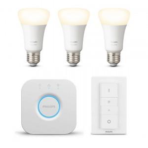 Philips Hue White Bluetooth Starter Kit E27 - 3 Lampen, Bridge + Dimmer Switch