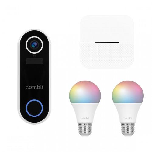Hombli Smart Doorbell V2 + Smart Bulb E27 Color 2-pack + Chime Deurgong